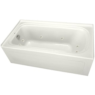 "PROFLO PFW6042ALSK  60"" x 42"" Alcove 8 Jet Whirlpool Bath Tub with Skirt, Left Hand Drain and Right Hand Pump"