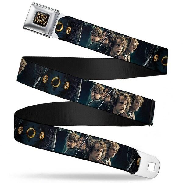 The Lord Of The Rings Full Color Black Gold 4 Hobbits Scene 3 Rings Eye Of Seatbelt Belt