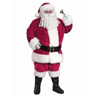 White and Red Regency Plush Santa Claus Unisex Adult Christmas Costume Suit - Plus Size - One Size
