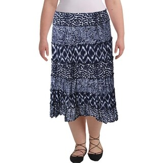JM Collection Petites Womens Mid Calf Printed A-Line Skirt, Blue, Size PM