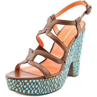 Via Spiga Cai Women Open Toe Leather Brown Platform Sandal