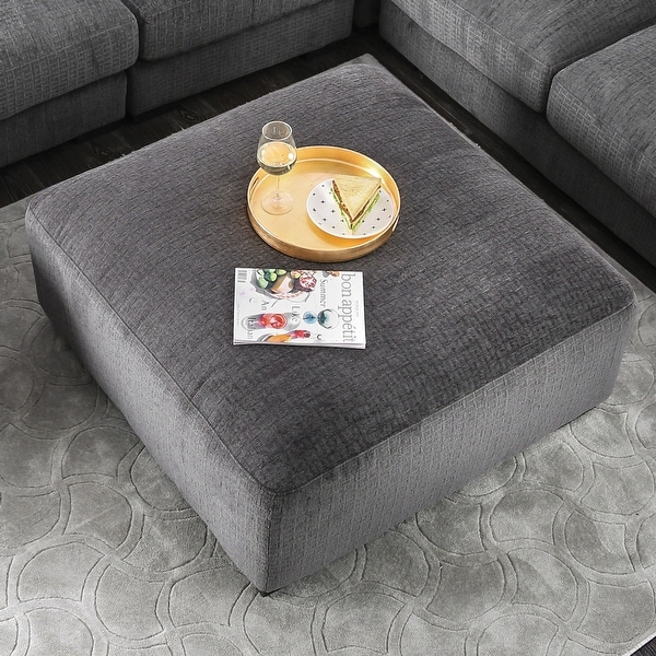 Furniture of America Cleo Transitional Grey Chenille Square Ottoman. Opens flyout.