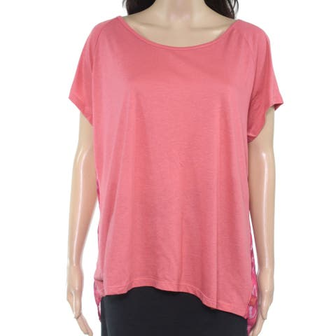 prAna Womens Top Pink Size XL Knit Scoop Neck Lace Back Panel Hi Low