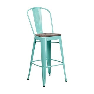 "Offex 30"" High Bistro Style Mint Green Metal Barstool with Back and Wood Seat"