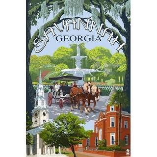 Savannah, GA - Town Views - LP Artwork (Art Print - Multiple Sizes Available)