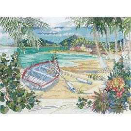Bucilla Counted Cross Stitch Kit, Island Boat by Paul Brent - brown