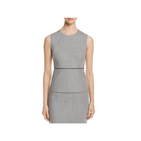 BOSS Hugo Boss Womens Iritala Peplum Top Virgin Wool Geo Print - 6
