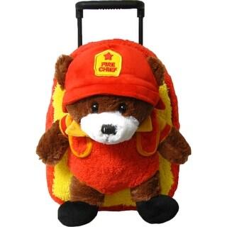 Kreative Kids Unisex Yellow Orange Fire Chief Bear Plush Roller - One size