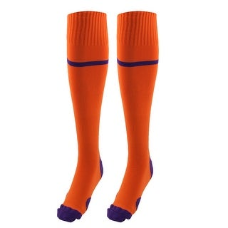 Outdoor Activities Knee High Stretchy Rugby Soccer Training Socks Orange Pair