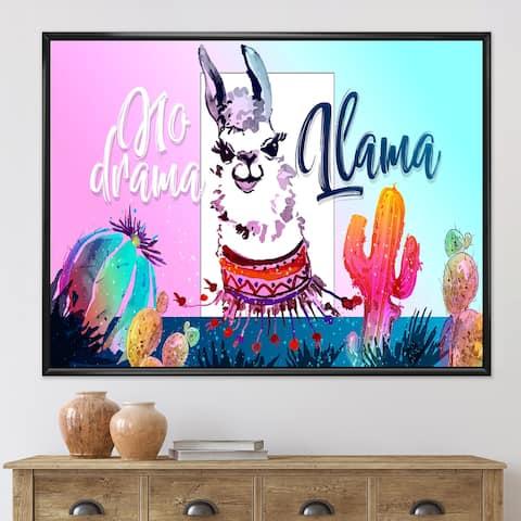 Designart 'No Drama Llama' Children's Art Framed Canvas Wall Art Print