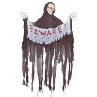 "Animated Reaper w/ ""Beware"" Banner Halloween Décor"