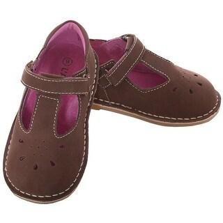 L'Amour Brown Nubuck T Strap Velcro Shoe Toddler Girl 5-10