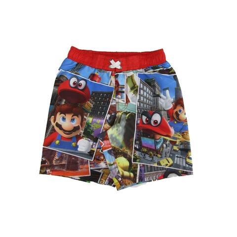 Super Mario Little Boys Multi Cartoon Inspired Odyssey Swim Shorts