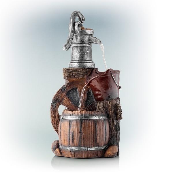 Alpine Corporation 3-Tier Pump Barrel Fountain, 24-Inches