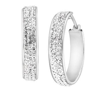Crystaluxe Hoop Earrings with White Swarovski Crystals in Sterling Silver