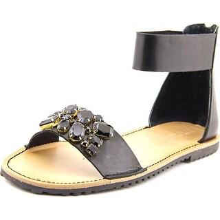Kenneth Cole Reaction Wipe Swipe 2 Women Open Toe Leather Black Sandals