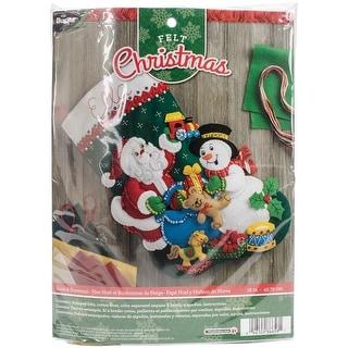 "Santa & Snowman Stocking Felt Applique Kit-18"" Long"