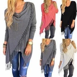 Sexy Fashion Womens Summer Loose Cotton Long Sleeve Casual Blouse Tunic Tops Shirt Tassel Coat