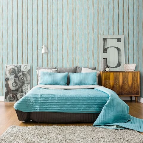 Turquoise Faux Wood Peel and Stick Removable Wallpaper 8825