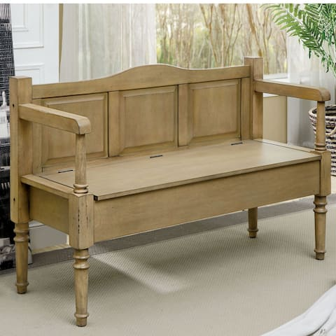 Furniture of America Mimi Transitional Solid Wood Storage Bench