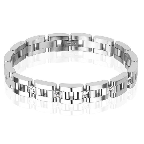 Five Square Clear CZs Linked Chain Stainless Steel Bracelet (10.5 mm) - 8.5 in