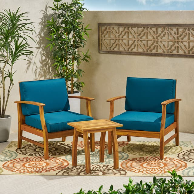 Perla Outdoor Acacia Wood 3-piece Outdoor Seating Set by Christopher Knight Home - Blue