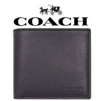 Coach Double Billfold Sport Calf Leather Men's Wallet, Black