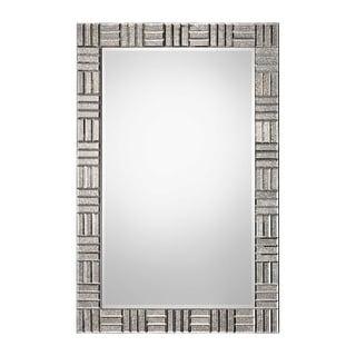 "60"" Antiqued Silver Basket Weave Pattern Framed Beveled Rectangular Wall Mirror - N/A"