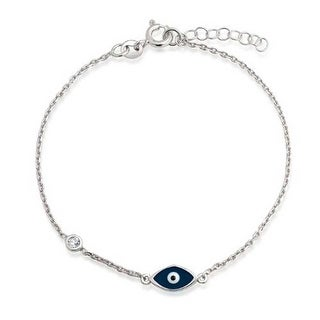 Bling Jewelry Navy Blue Evil Eye Sterling Silver CZ Bracelet 7 Inch