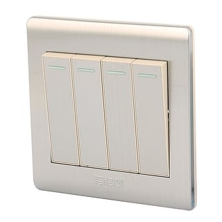 AC 250V 10A 4 Gang 2 Way On/Off Stainless Steel Modern Design Wall Light Switch