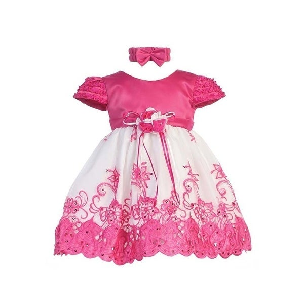Baby Girls Fuchsia White Floral Jeweled Easter Flower Girl Bubble Dress 3-18M