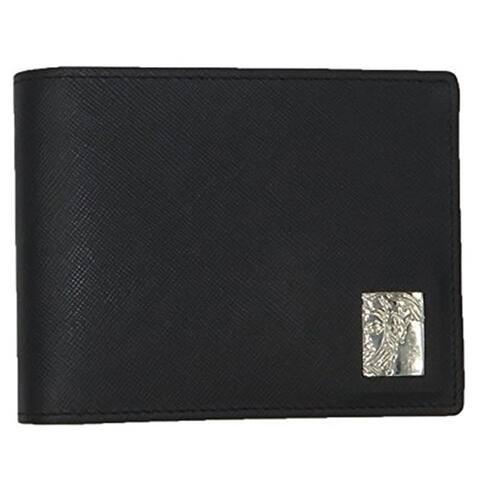 76fabb8e251 VERSACE COLLECTION Black Saffiano Leather Medusa Logo Bifold Wallet - S