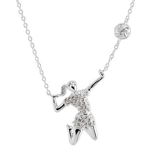 Crystaluxe Volleyball Player Necklace with Swarovski Crystals in Sterling Silver - White
