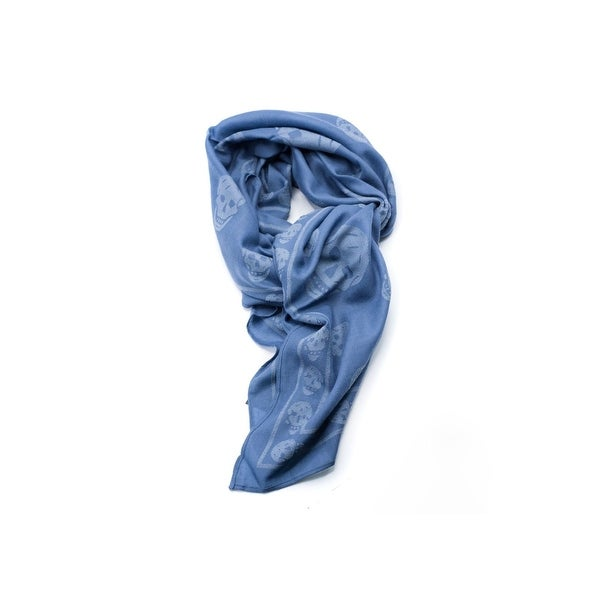 Alexander McQueen Wool blend Two-Toned Blue Iconic Skull Scarf