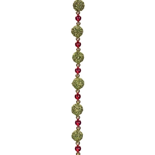 Set of 6 Decorative Sparkling Green and Red Beaded Christmas Garland 72""