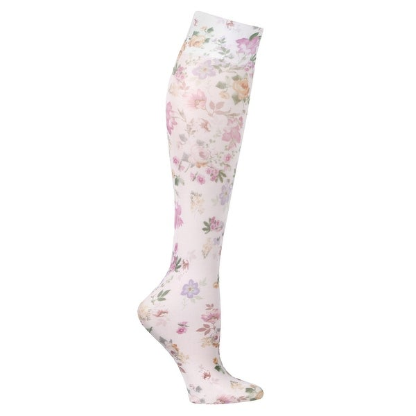 Celeste Stein Women's Mild Compression Knee High Stockings - Roses and Violets - Medium