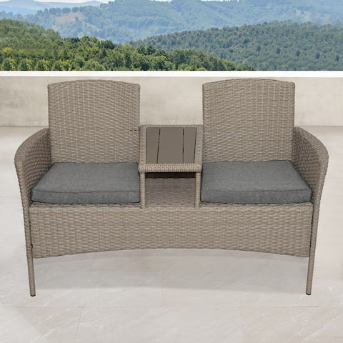 Corvus Armitage Outdoor Wicker Tete-a-Tete Bench