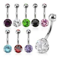 Prong Set CZ 316L Surgical Steel Navel Belly Button Ring