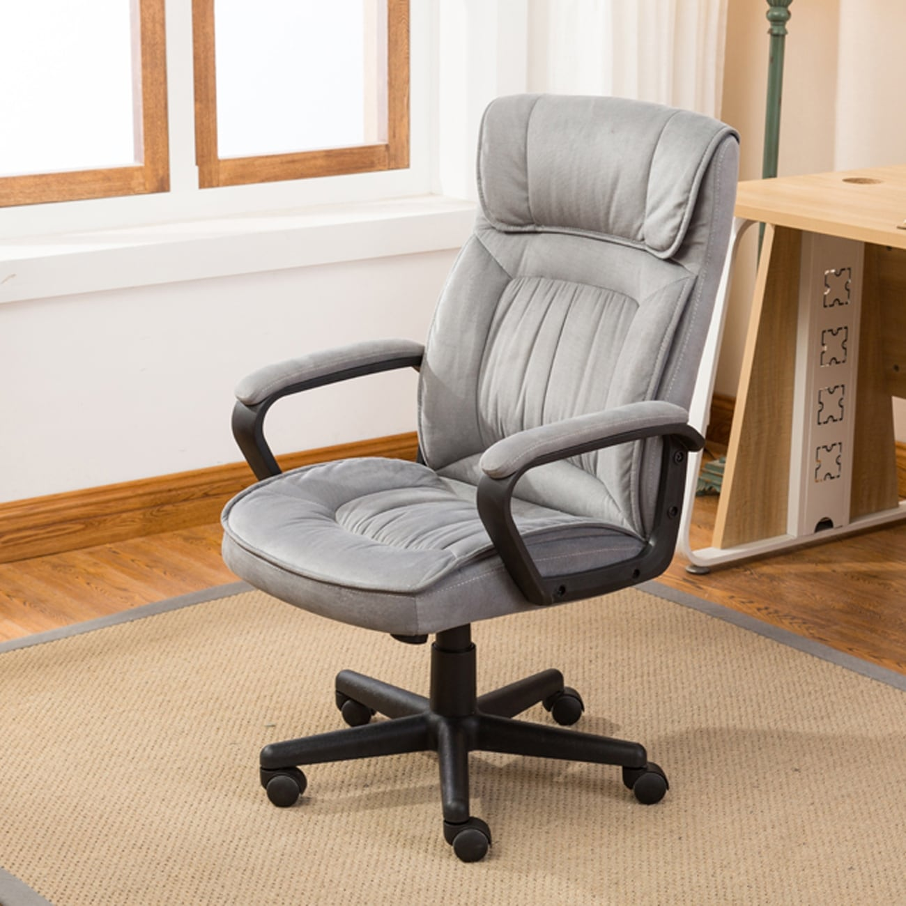 High Back Gray Microfiber Upholstered Contemporary Office Chair home office