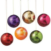 """Set of 6 Multi-Colored Shatterproof Sequin Christmas Ball Ornaments 3"""" (70mm) - multi"""