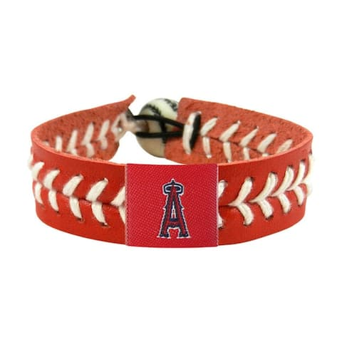 MLB LA Los Angeles Angels Sports Team Logo Team Color Leather Baseball Bracelet