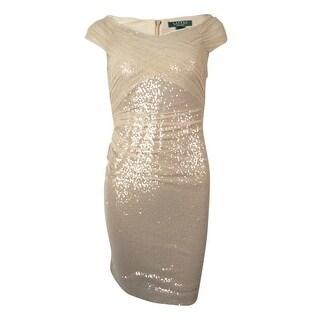Lauren Ralph Lauren Women's Sequined Mesh Overlay Sheath Dress