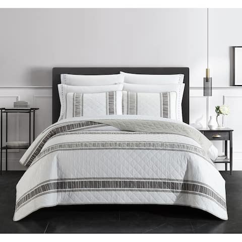 Chic Home Massie Quilt Set Diamond Stitched Striped Print Bed In A Bag, White-Grey