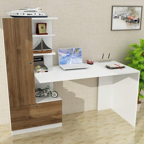 Pyramid Home Decor Contemporary Home Office Desk with Shelves 59""