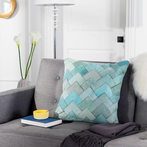 SAFAVIEH Draper Teal Cowhide 20-inch Pillow