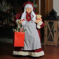 """24"""" Mrs. Claus the Chef Standing Christmas Figure with Teddy Bear and Bag of Treats - RED"""