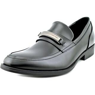 Calvin Klein Douggie Men Round Toe Leather Black Loafer