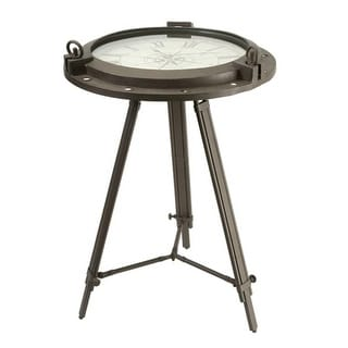 "26.75"" Rustic Antique-Style Round Tripod End Table with Roman Numeral Clock Top"