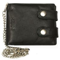 Men'S Black Biker'S Wallet Kabana With 18 Inch Long Metal Chain To Hang