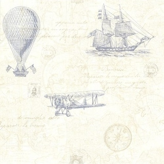 Brewster 2604-21242 Explorer Blue Antique Map Wallpaper